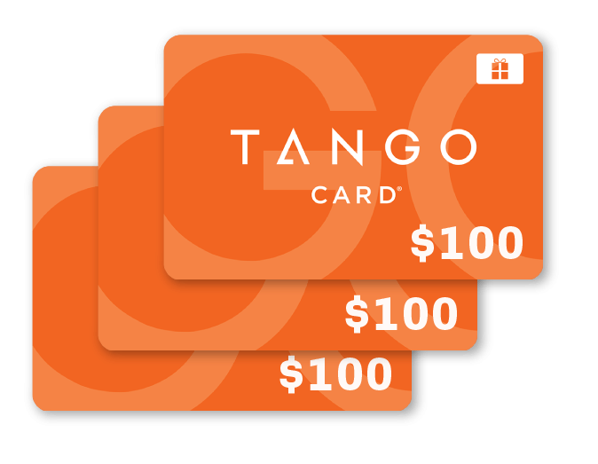 WIN 1 of 3 $100 TANGO GIFT CARDS